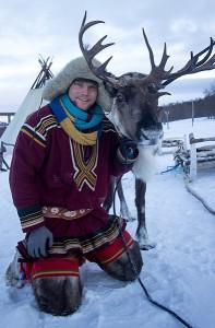 Rit met rendierslede met Fru Amundsen in Noorwegen